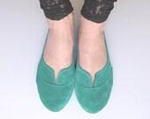 Emerald Aqua Green Suede Handmade Oxford Shoes
