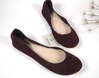 Burgundy Red Wine Soft Leather Handmade Ballet Flats