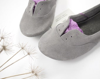 Cool Gray Soft Suede Leather Handmade Oxfords Shoes