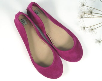Ciclamino Soft Suede Leather Handmade Ballet Flats