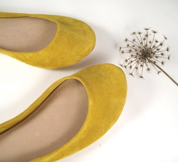 READY to SHIP ! 15% OFF ! Size 41 ---- Sunflower Yellow Soft Leather Handmade Ballet Flats