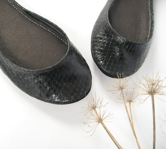Limited Edition Glossy Black Handmade Ballet Flats - Last Pair Available