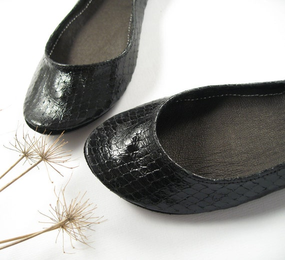 Limited Edition Glossy Black Handmade Ballet Flats -- Reserved for Staisha