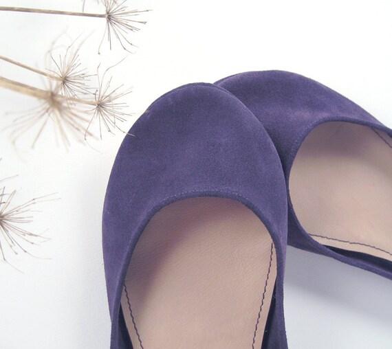 Violetta Soft Suede Leather Handmade Ballet Flats