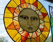 Stained Glass Hand Painted Sun Panel - ON SALE