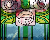 Art Deco Roses Stained Glass Panel - ON SALE