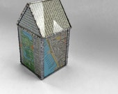 Stained Glass Recycled Map and Book House Sculpture