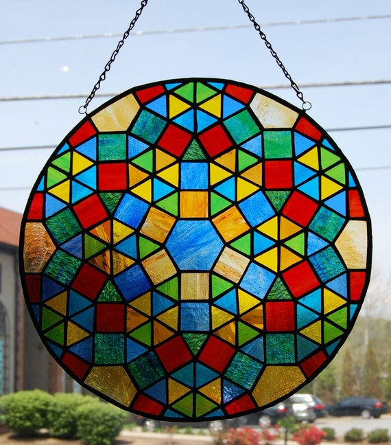 Mosaic Design Geometric Stained Glass Round Panel