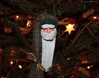 Driftwood Santa with Green Plaid Stocking Cap Ornament
