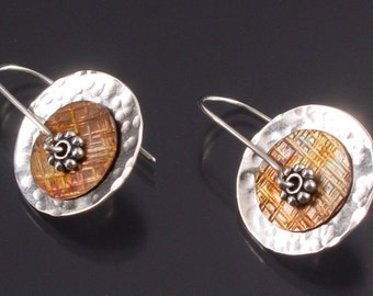 Handmade Sterling Silver and Copper Disc Earrings