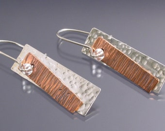 Handmade Sterling Silver and Copper Banner Earrings