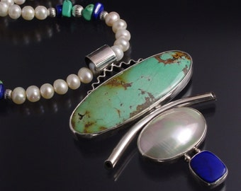 Handmade Sterling Silver, Turquoise, Pearl and Lapis Necklace