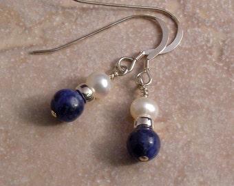 Handmade Sterling Silver Sodalite and Freshwater Pearl earrings