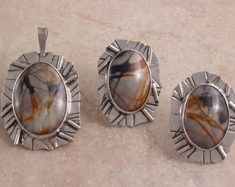 Picasso Marble and Sterling Silver Pendant and Earrings