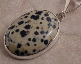 Dalmation Jasper and Sterling Silver Pendant