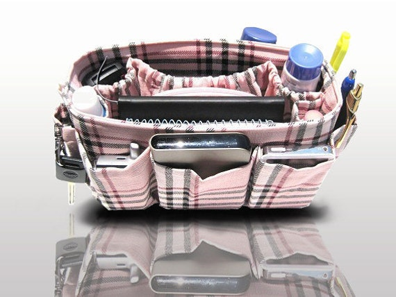 Purse Organizer Bags and Purses Handbag Organzier Insert  / Pink Plaid / Medium 22x8cm