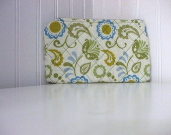 Quilted Funky Florals and Polka Dot Make-up Bag