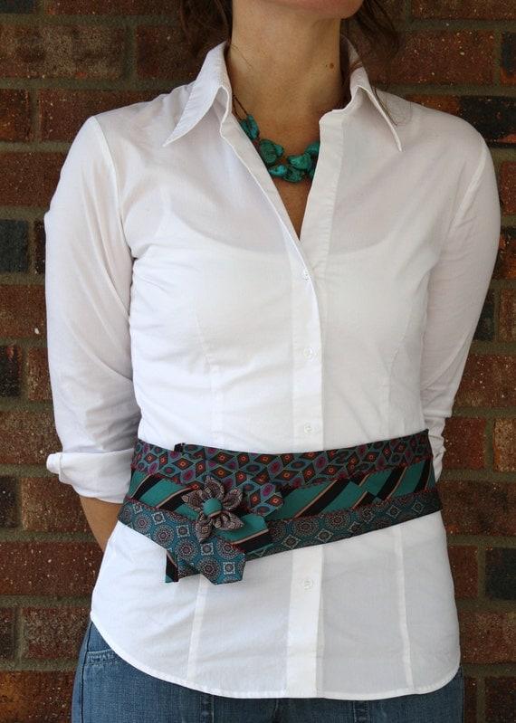 Turquoise Vintage Necktie Belt