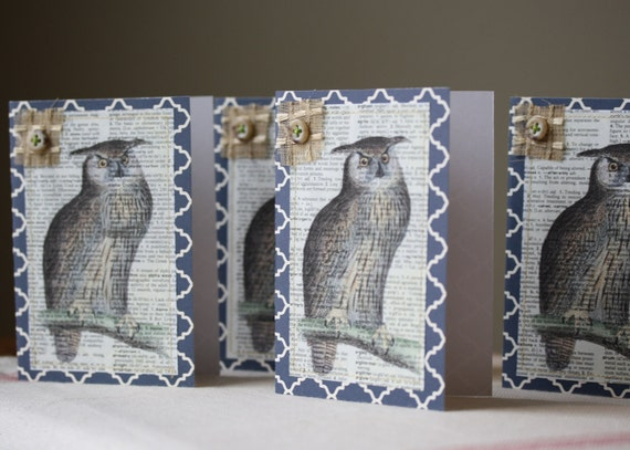 Set of Four Recycled Book Page Note Cards Owl Print