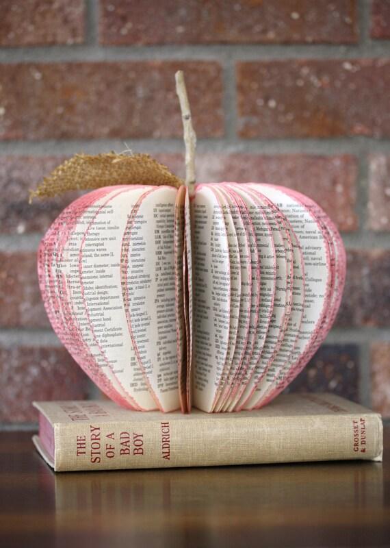 Vintage Book Apple SCHOOL DAY teacher gift