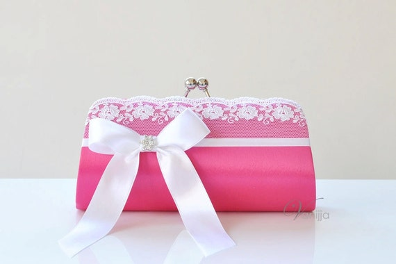 The Juliet Clutch in Fuchsia. Perfect for the Bride, Bridesmaid or any event