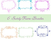Photoshop Brush Set, 6 Swirly Frames, OOAK from Original Illustrations,This Way Up Graphics