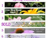 Spring Flower Banners 2, Custom Premade Etsy Shop Banners, Personalize, You Choose the Font, This Way Up Graphics