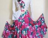 10-Flamenco circle skirt  fuchsia,white and green flowers and 10 white tops