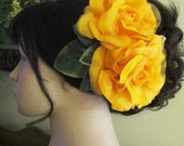 Flamenco Orange Two Roses Hair Flower Comb
