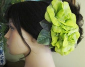 Flamenco Lime Green Two Roses Hair Flower Comb