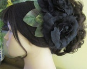 Flamenco Black Two Roses Hair Flower Comb