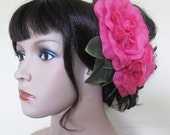Flamenco Fuschia Two Roses Hair Flower Comb