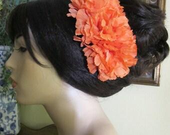 Orange Flamenco Carnations hair comb