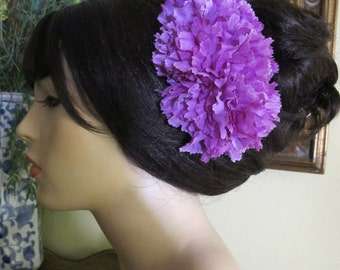 Purple Flamenco Carnations hair comb