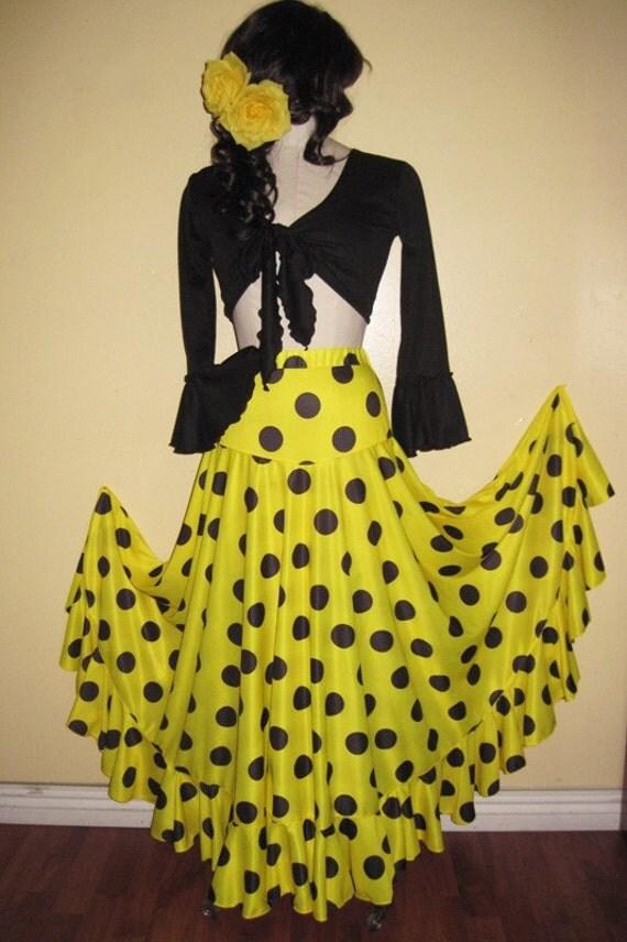 Flamenco circle skirt yellow / black polka dots M/L size