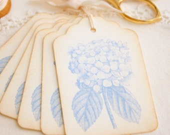 Hydrangea Gift Tags Vintage Style Blue Floral Spring Gift Tags