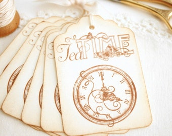 Tea Time Gift Tags Shabby Cottage Vintage Style