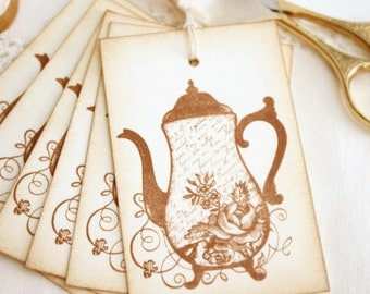 Tea Pot Gift Tags Coffee Pot Shabby Cottage Vintage Style