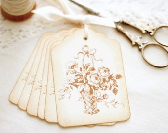Vintage Style Gift Tags Flower Basket All Occasion Gift Tags