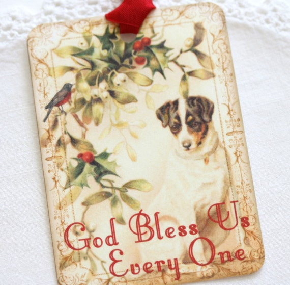 Christmas Gift Tags Vintage Style Dog Bird Holly God Bless Us Everyone