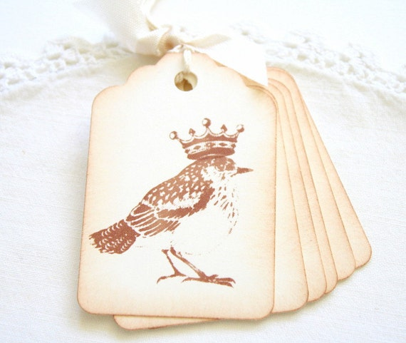 Bird Gift Tags, Vintage Bird and Crown Gift  and Favor All Occasion Tags