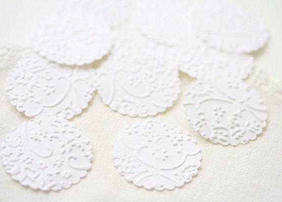 Wedding Seals -  25 Embossed White French Lace Elegant Seals For Envelopes Gift Wrap Favor Bags :  Wedding Envelope Seals