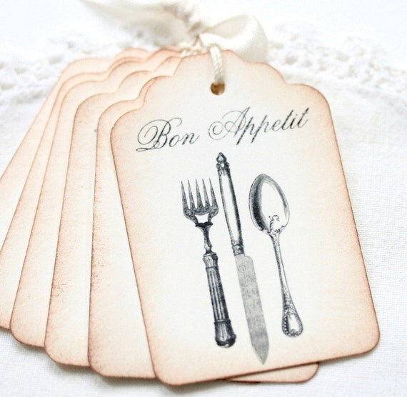 Bon Appettit Gift Tags - Vintage Style Silverware in Sepia and Antique Black