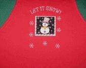 SALE! - SNOWMAN apron bright red preschool daycare kindergarten teacher classroom gift idea winter under 20 ready to ship