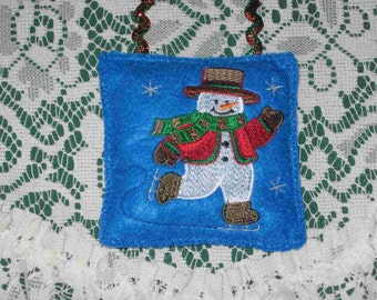Ice skating snowman CHRISTMAS ornament blue gift exchange idea under 10 ready to ship