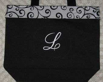 Set of 3 - Bridesmaid Personalized gifts large black canvas tote bag wedding bridal party mother of the bride maid of honor gift