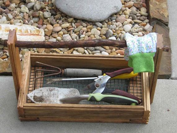 Garden Basket repurposed oak - fruits vegetables harvest rustic oak branch handle garden tool caddy gifts for gardeners gift idea