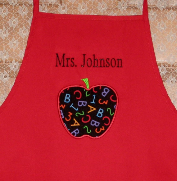 TEACHER Personalized apron back to school preschool daycare kindergarten elementary school gift primary colors dr seuss cat in the hat