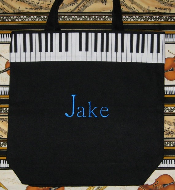 PIANO MUSIC BaG personalized music lesson book bag embroidered keyboard black canvas just for boys guys children birthday gift idea