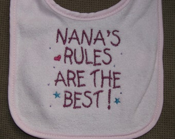 Nana's Rules Are The Best Bib in Pink